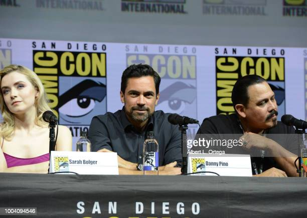 sarah Bolger Danny Pino and Emilio Rivera onstage at the Mayans MC discussion and QA during ComicCon International 2018 at San Diego Convention...