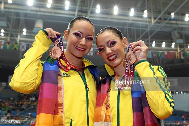 Sarah Bombell and Eloise Amberger of Australia pose with the bronze medal during the medal ceremony for the Duet Free Routine at the DrSP Mukherjee...