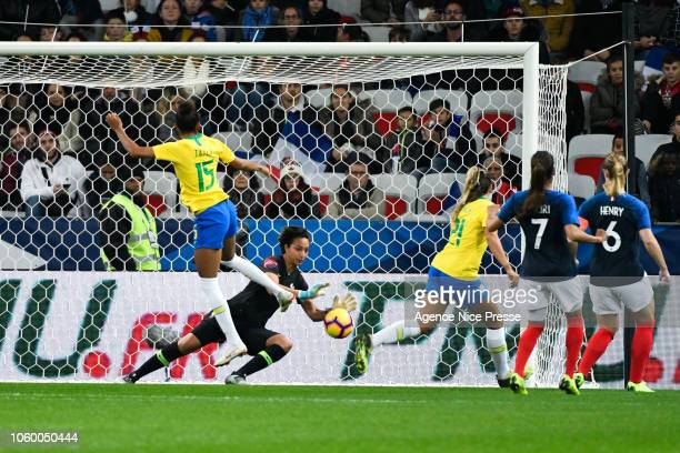 Sarah Bouhaddi of France and Tayla Santos of Brasil during the International Women match between France and Brazil at Allianz Riviera Stadium on...