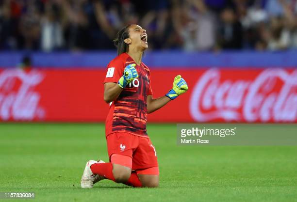 Sarah Bouhaddi of France celebrates her team's second goal during the 2019 FIFA Women's World Cup France Round Of 16 match between France and Brazil...