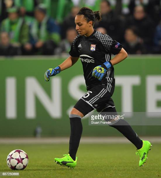 Sarah Bouhaddi of Lyon in action during the UEFA Women's Champions League Quater Final first leg match between VfL Wolfsburg and Olympique Lyon at...