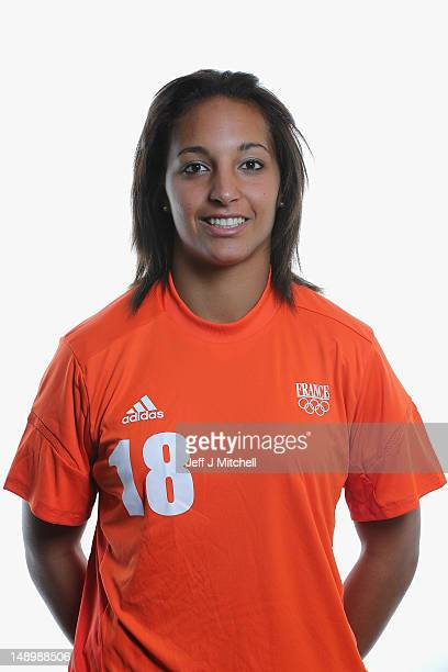 Sarah Bouhaddi poses during the France Women's official Olympic Football Team portraits on July 21 2012 in Glasgow Scotland