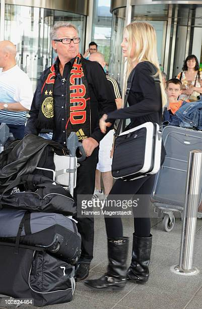 Sarah Brandner and Hans Schweinsteiger at the airport after the World Cup 2010 in Southafrica on July 12 2010 in Munich Germany