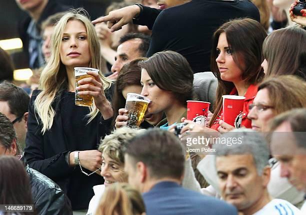 Sarah Brandner girlfriend of Bastian Schweinsteiger and Kathrin Glich girlfriend of Manuel Neuer of Germany during the UEFA EURO 2012 quarter final...