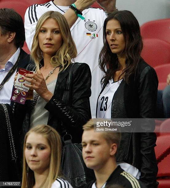Sarah Brandner girlfriend of Bastian Schweinsteiger and Silvia Meichel girlfriend of Mario Gomez are seen prior to the UEFA EURO 2012 semi final...