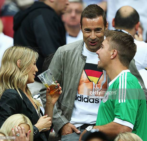 Sarah Brandner girlfriend of Bastian Schweinsteiger before the UEFA EURO 2012 semi final match between Germany and Italy at the National Stadium on...