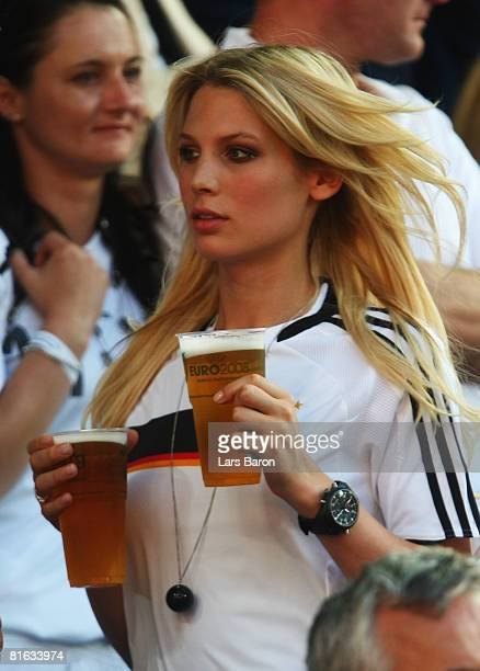 Sarah Brandner, girlfriend of Bastian Schweinsteiger carries some drinks prior to the UEFA EURO 2008 Quarter Final match between Portugal and Germany...