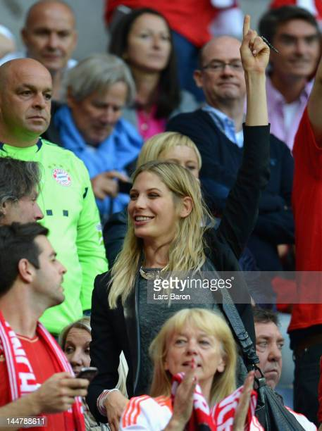 Sarah Brandner girlfriend of Bastian Schweinsteiger enjoys the atmosphere prior to the UEFA Champions League Final between FC Bayern Muenchen and...