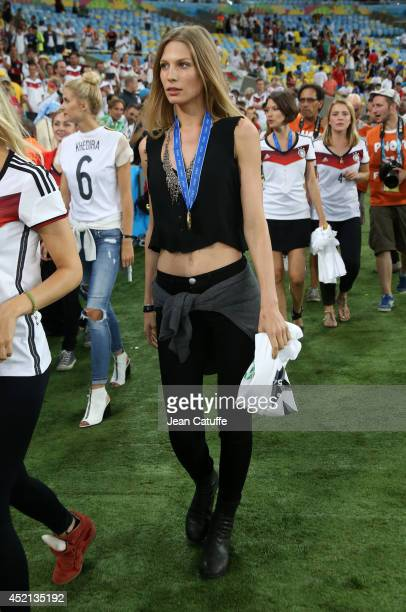 Sarah Brandner girlfriend of Bastian Schweinsteiger looks on after the 2014 FIFA World Cup Brazil Final match between Germany and Argentina at...