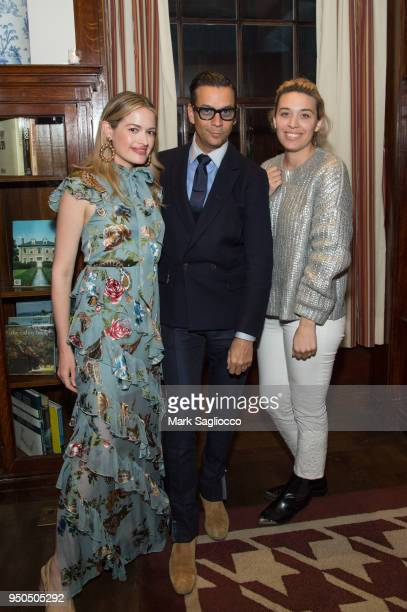Sarah Bray James Aguiar and Jacqueline Zenere attend the Gotham Magazine VIP Dinner with Cover Star Taylor Schilling at The Lambs Club on April 23...