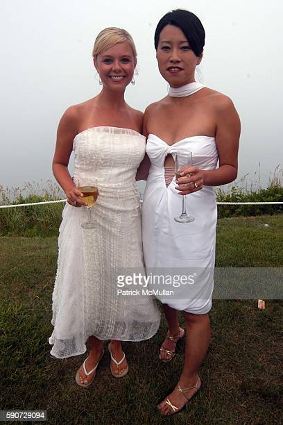 Sarah Brice and Junko Yoshioka attend Junko Yoshioka Presents Her Evening Wear Collection at Peter and Nejma Beard Residence on July 16 2005 in...
