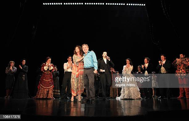 Sarah Brightman and Lord Andrew Lloyd Webber attend the Phantom of the Opera closing night show at The Pantages Theater on October 31 2010 in Los...