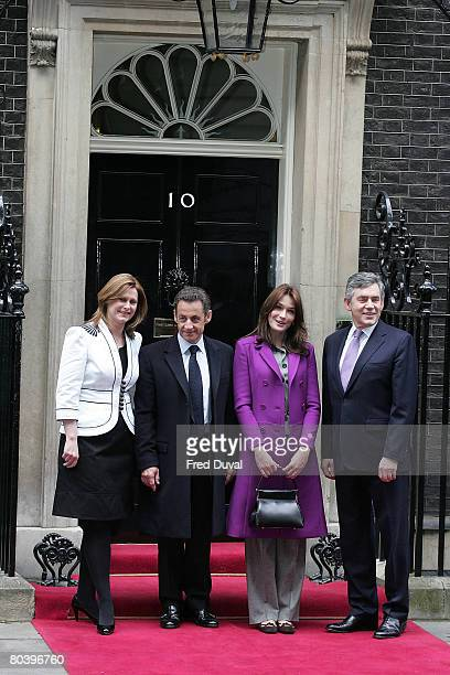 Sarah Brown French President Nicolas Sarkozy Carla BruniSarkozy and British Prime Minister Gordon Brown meet at 10 Downing Street on the second day...