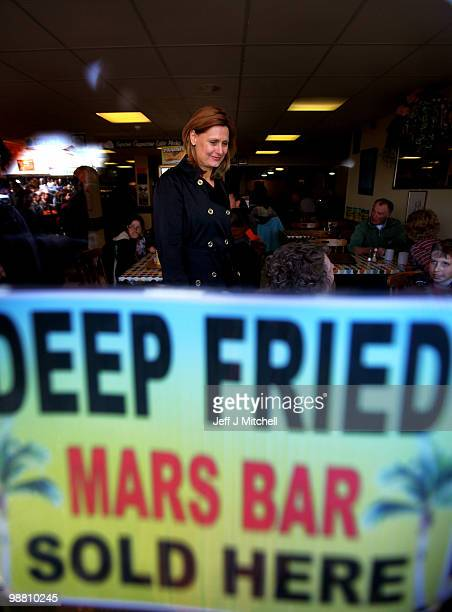 Sarah Brown the wife of Prime Minister Gordon Brownvisits a fish and chip shop on May 3 2010 in Great Yarmouth England The General Election to be...