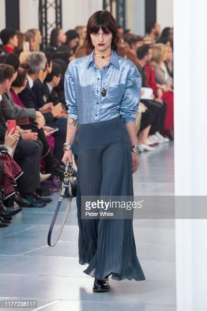 Sarah Brown walks the runway during the Chloe Womenswear Spring/Summer 2020 show as part of Paris Fashion Week on September 26, 2019 in Paris, France.