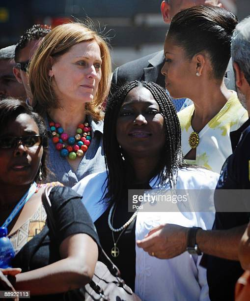 Sarah Brown, wife of British Prime Minister Gordon Brown and U.S First Lady Michelle Obama visit the earthquake site on July 9, 2009 in L'Aquila,...