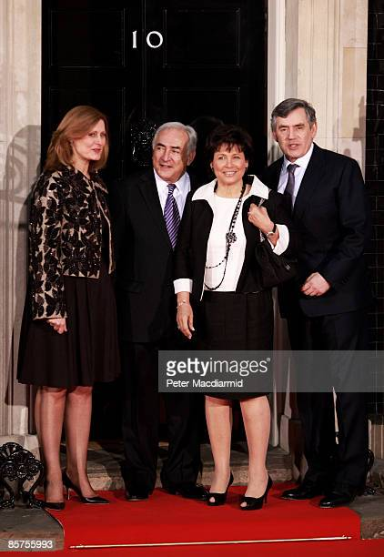 Sarah Brown wife of Gordon Brown IMF Managing Director Dominique StraussKahn his wife Anne Sinclair and British Prime Minister Gordon Brown arrive at...