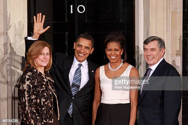 Sarah Brown wife of Gordon Brown, President Barack Obama, his wife Michelle Obama and British Prime Minister Gordon Brown arrive at Downing Street...