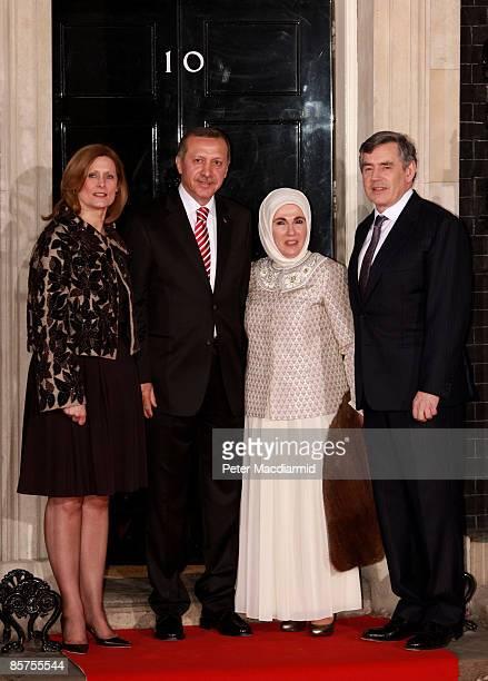 Sarah Brown wife of Gordon Brown Turkish Prime Minister Rejep Tayyip Erdogan his wife Emine Erdogan and British Prime Minister Gordon Brown arrive at...