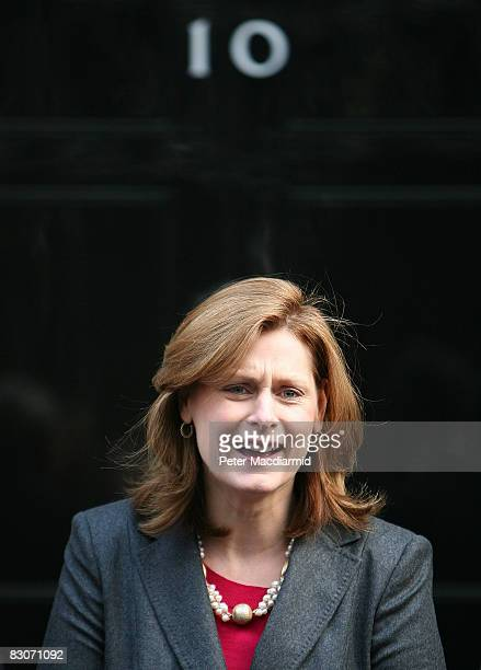 Sarah Brown wife of Prime Minister Gordon Brown stands on the steps of Number 10 Downing Street on October 1 2008 in London Mr and Mrs Brown welcomed...