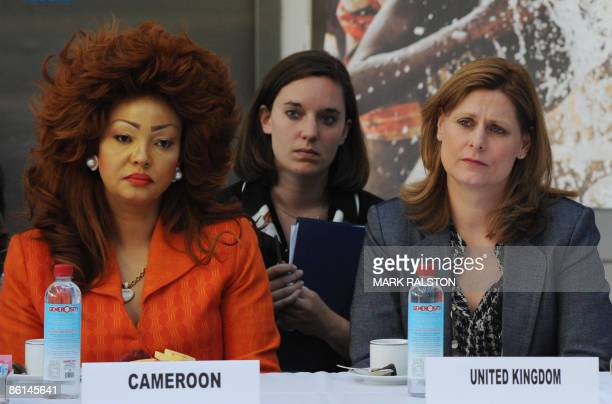 Sarah Brown wife of the British Prime Minister Gordon Brown sits beside First Lady Chantal Biya of Cameroon during the African First Ladies Health...