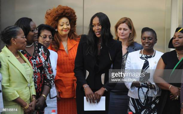Sarah Brown wife of the British Prime Minister Gordon Brown stands beside supermodel Naomi Campbell along with First Lady Chantal Biya of Cameroon...