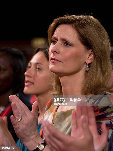 Sarah Brown wife of UK prime minister Gordon Brown applauds after his keynote speech at the Labour party conference in Brighton UK on Tuesday Sept 29...