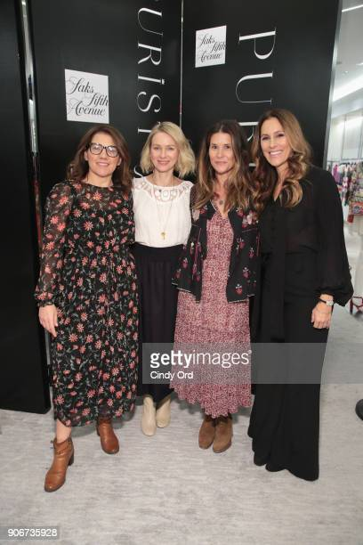 Sarah Bryden-Brown, Naomi Watts, Larissa Thomson and Cristina Cuomo pose for a photo together as Saks Fifth Avenue and Purist host Wellness Panel...