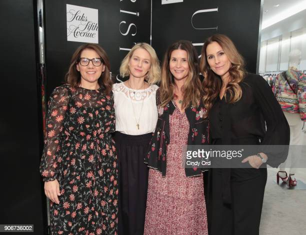 Sarah BrydenBrown Naomi Watts Larissa Thomson and Cristina Cuomo pose for a photo together as Saks Fifth Avenue and Purist host Wellness Panel...