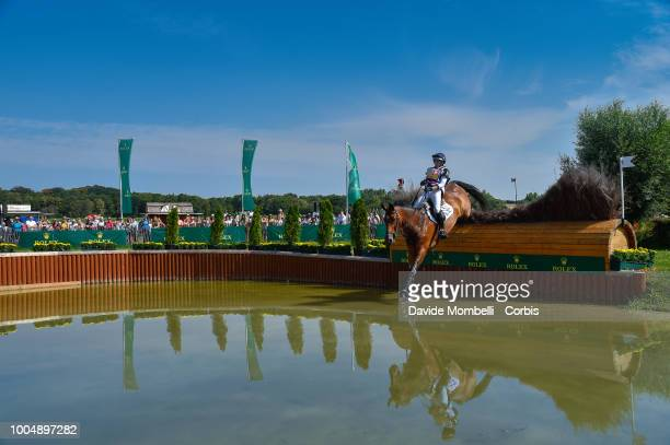 Sarah Bullimore of England riding Reve du Rouet 547 Valentino V during the obstacle in the water of the Cross Country test DHLPrize in the park of...