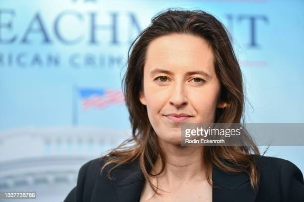 """Sarah Burgess attends the premiere of FX's """"Impeachment: American Crime Story"""" at Pacific Design Center on September 01, 2021 in West Hollywood,..."""