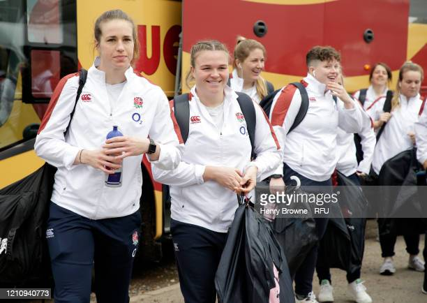 Sarah Burn and Emily Scarratt of England arrive prior to the Women's Six Nations match between England and Wales at Twickenham Stoop on March 07 2020...