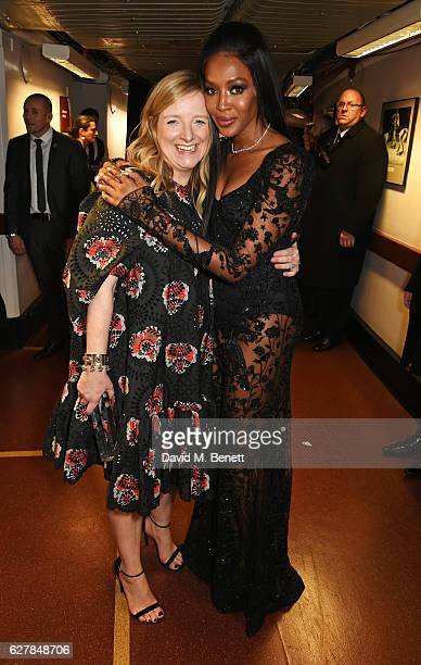 Sarah Burton accepting the British Brand award on behalf of McQueen and Naomi Campbell pose backstage at The Fashion Awards 2016 at Royal Albert Hall...