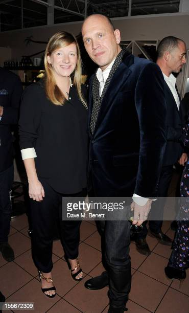 Sarah Burton and Stylecom editorinchief Dirk Standen attend the Stylecom dinner celebrating London fashion hosted by editorinchief Dirk Standen at...