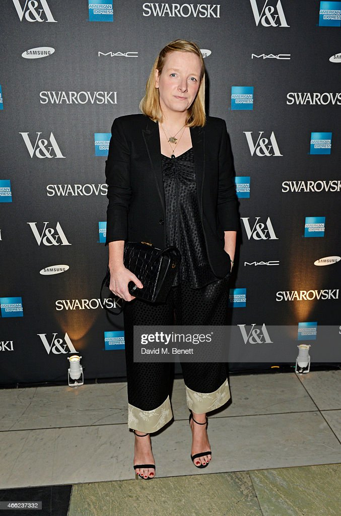 Sarah Burton arrives at the Alexander McQueen: Savage Beauty VIP private view at the Victoria and Albert Museum on March 14, 2015 in London, England.