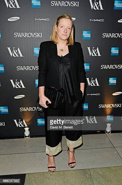 Sarah Burton arrives at the Alexander McQueen Savage Beauty VIP private view at the Victoria and Albert Museum on March 14 2015 in London England