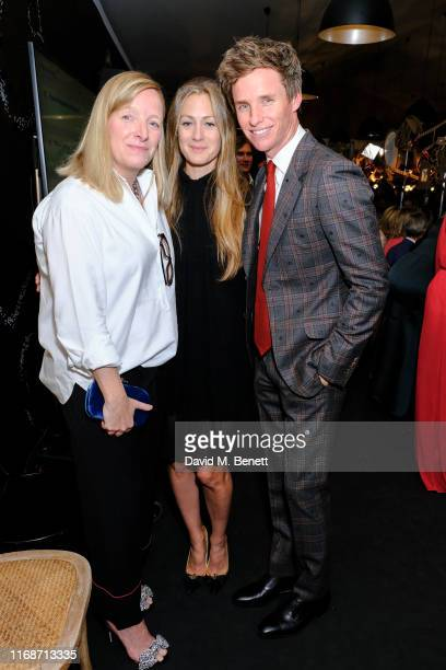 Sarah Burton, Hannah Redmayne and Eddie Redmayne attend 'The Craftsman's Dinner' hosted by the Sarabande Foundation at LAPADA Art & Antiques Fair,...