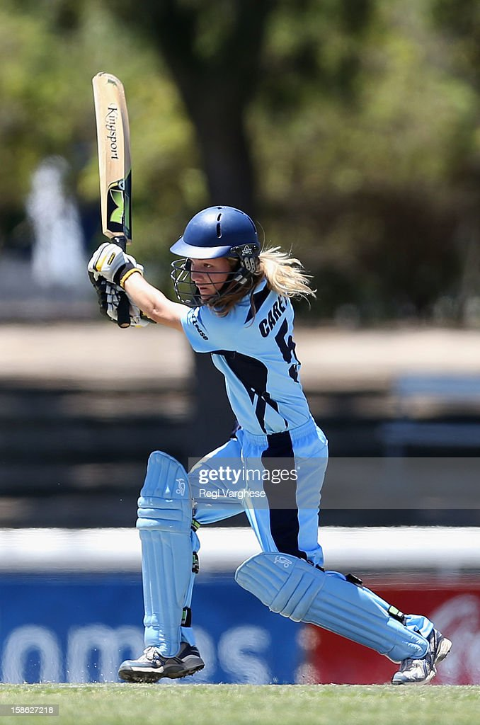 Sarah Carey of Breakers plays a shot during the WNCL match between the South Australia Scorpions and the New South Wales Breakers at Prospect Oval on December 22, 2012 in Adelaide, Australia.