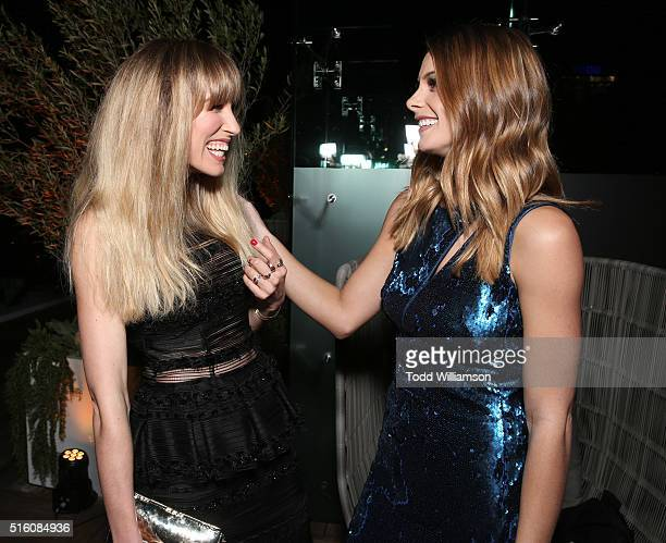 Sarah Carter and Ashley Greene attend the after party for the premiere of DirecTV's 'Rogue' at The London Hotel on March 16 2016 in West Hollywood...
