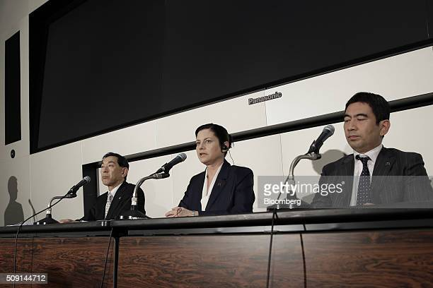 Sarah Casanova chief executive officer of McDonald's Holdings Co Japan Ltd center speaks as Atsuo Shimodaira executive vice president and chief...