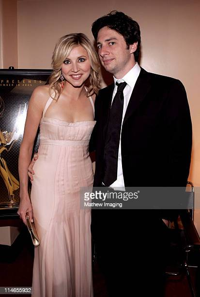 Sarah Chalke and Zach Braff during 57th Annual Primetime Creative Arts EMMY Awards - Green Room at Shrine Auditorium in Los Angeles, California,...