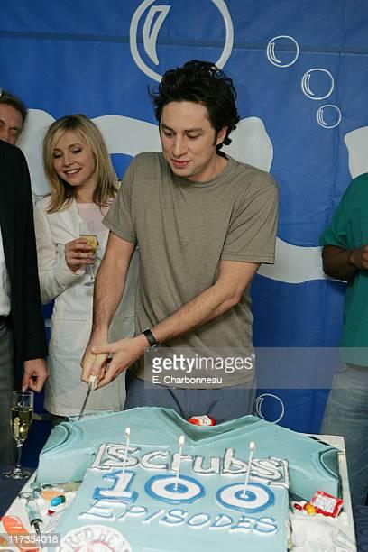 "Sarah Chalke and Zach Braff during ""Scrubs"" Celebrates 100th Episode in Valley Village, California, United States."