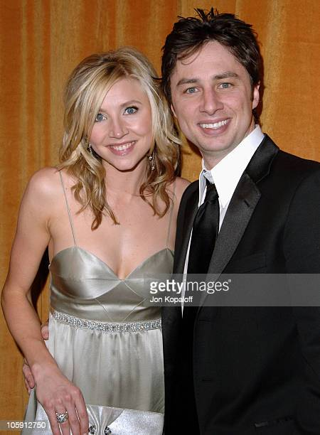 Sarah Chalke and Zach Braff during The Weinstein Company/Glamour 2006 Golden Globes After Party at Trader Vic's in Beverly Hilton Hotel, California,...