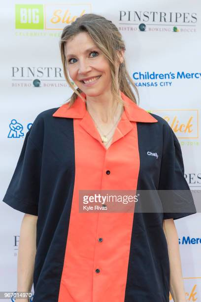 Sarah Chalke walks the Red Carpet before participating in bowling at Pinstripes during the Big Slick Celebrity Weekend benefitting Children's Mercy...