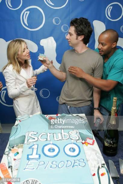 "Sarah Chalke, Zach Braff and Donald Faison during ""Scrubs"" Celebrates 100th Episode in Valley Village, California, United States."