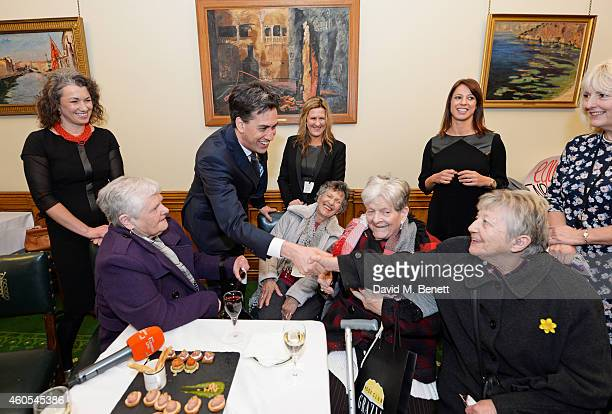 Sarah Champion MP Ed Miliband Jane Bruton EditorinChief at Grazia Magazine Gloria De Piero MP and Unite union leader Jennie Formby pose with reallife...