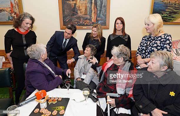 Sarah Champion MP Ed Miliband Jane Bruton EditorinChief at Grazia Magazine Gloria De Piero MP and Unite union leader Jennie Formby pose with reallife...