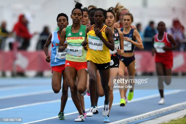 Sarah Chelangat of Uganda leads the Women's 3000m during day 5 of Buenos Aires 2018 Youth Olympic Games at Youth Olympic Park Villa Soldati on...