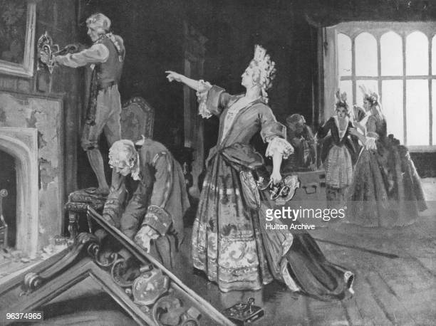Sarah Churchill Duchess of Marlborough supervises the removal of fittings from the room at Kensington Palace which she had occupied as lady in...