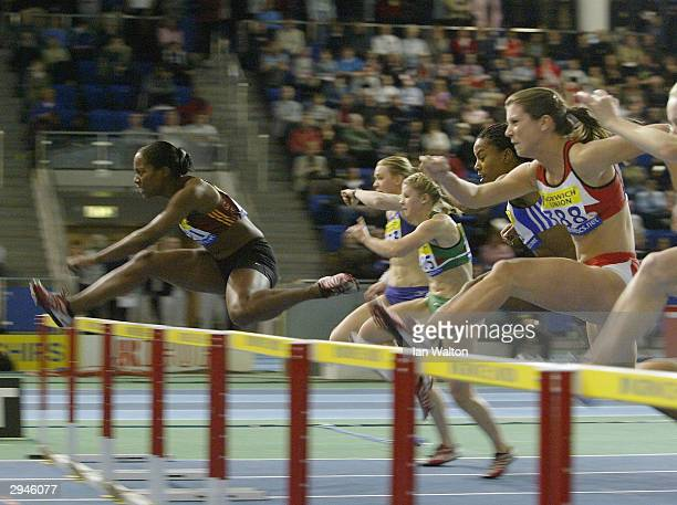 Sarah Claxton of England wins the Womens 60 metres hurdles during the Norwich Union World Indoor Athletics Trials at the English Institue of Sport...
